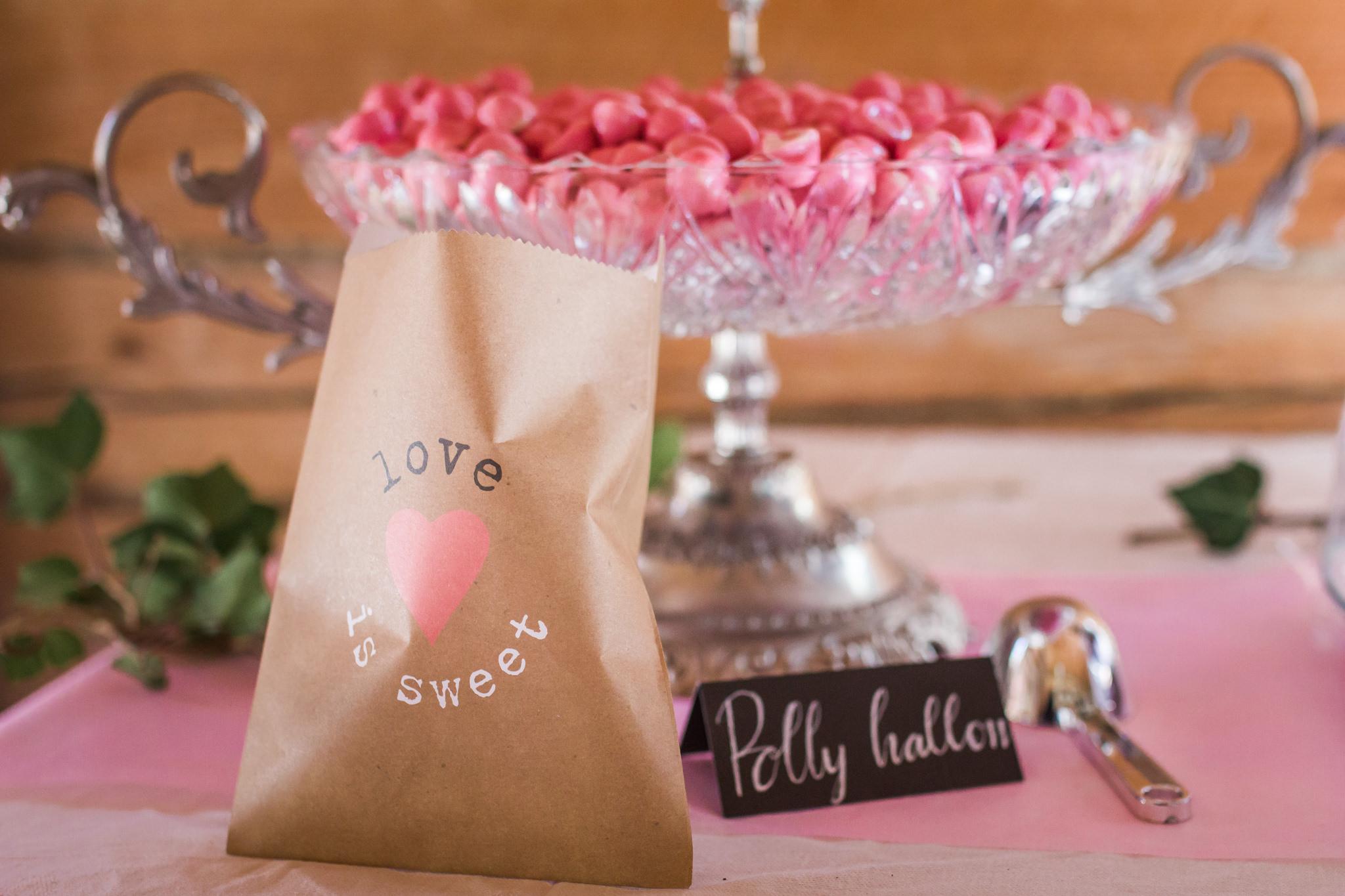 Candybar Polly hallon på bröllop i Slattefors Magasin i Linköping