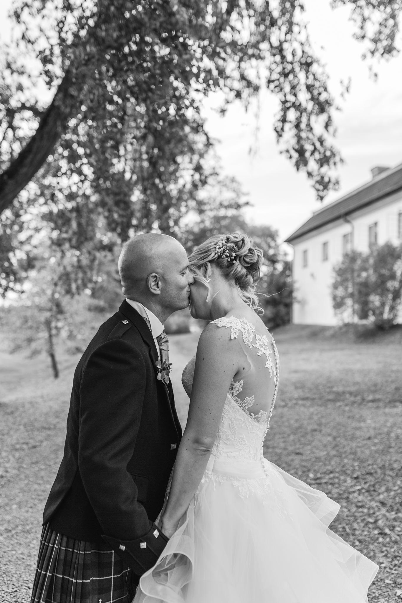 Brudpar på bröllop på Mauritzberg Slott